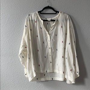 Anthropologie cream blouse xl